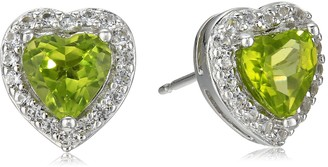 Amazon Collection Sterling Silver Created Opal and Created White Sapphire Halo Heart Stud Earrings