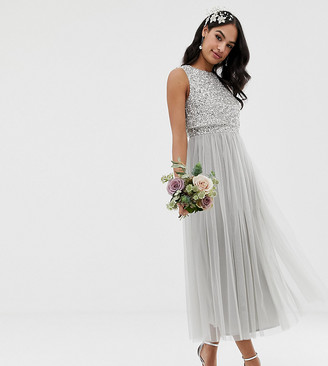 Maya Bridesmaid sleeveless midaxi tulle dress with tonal delicate sequin overlay in silver