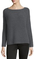 Vince Ladder-Stitched Funnel-Neck Cashmere-Blend Sweater