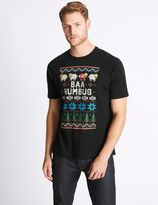 Marks and Spencer Pure Cotton Fairisle Crew Neck T-Shirt