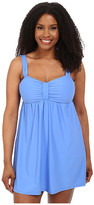 Athena Plus Size Cabana Solids Molded Cup Swim Dress w/ Hidden Hook and Eye Tail One-Piece