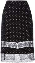 Givenchy star embroidered lace panel skirt