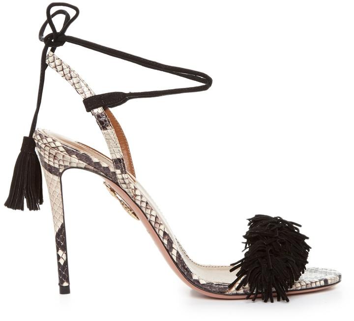 Aquazzura Wild Thing snakeskin fringed sandals