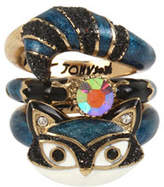 Betsey Johnson Mini Critters Set of Three Crystal Stacking Rings