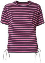 Sacai striped lace-up T-shirt - women - Cotton - 2