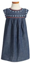 Tea Collection Girl's Fig Street Embroidered Chambray Dress