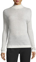 DKNY Ribbed Wool-Blend Turtleneck Top, Chalk
