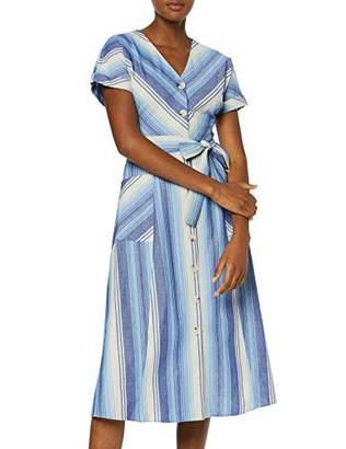 Warehouse Women's Chevron Stripe Button Through Dress, (Blue 33), (Size:)