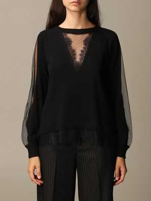 Twin-Set Twin Set Sweater Round Neck With Lace