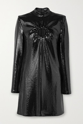 Tom Ford Cutout Sequined Jersey Mini Dress - Black