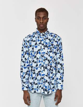 Gitman Brothers GV x Magnafied Oversized Oxford Shirt in Blue Camo
