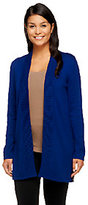 As Is Susan Graver Cotton Acrylic Open Front Long Sleeve Cardigan