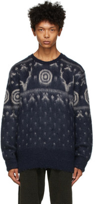 South2 West8 Navy and White Mohair Sweater