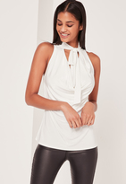 Missguided Tie Neck cowl Tank Top White