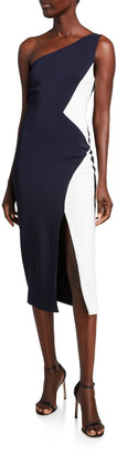 Cushnie Colorblock Cady One-Shoulder Dress