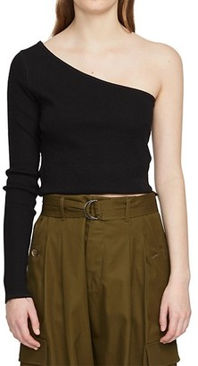 Bassike Ribbed One-Shoulder Cropped Top