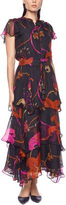 Souvenir Tiered Ruffle Silk Dress