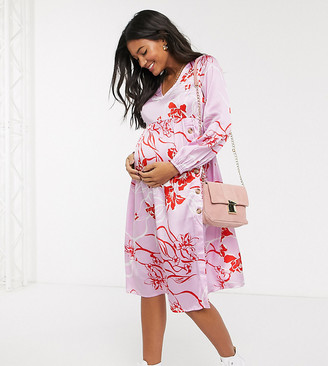 Influence Maternity button front midi dress in pink floral
