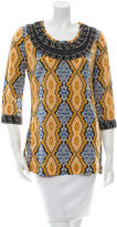 Tory Burch Long Sleeve Bead-Embellished Top
