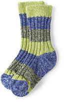Lands' End Kids Rugby Socks-Olive/Lime Marl Stripe