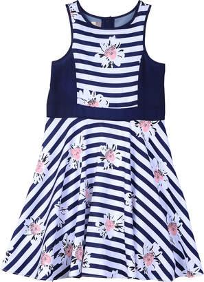 Pippa Pastourelle By & Julie Striped & Floral Printed A-Line Dress, Size 7-14