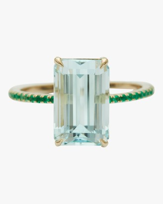 Yi Collection Aquamarine and Emerald Spring Ring