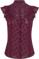 Karen Millen Victoriana Sleeveless Blouse - Aubergine