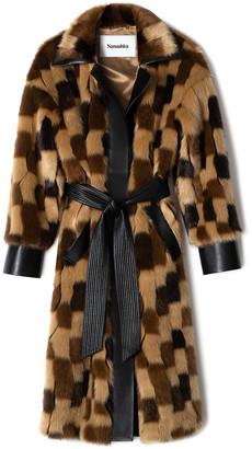 Nanushka Azur Oversized Checked Faux Leather Coat