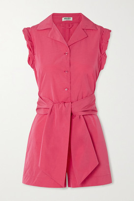 Kenzo Belted Taffeta Playsuit - Coral