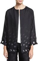 Shamask Degrade Dot-Print Open-Front Jacket, Black/White