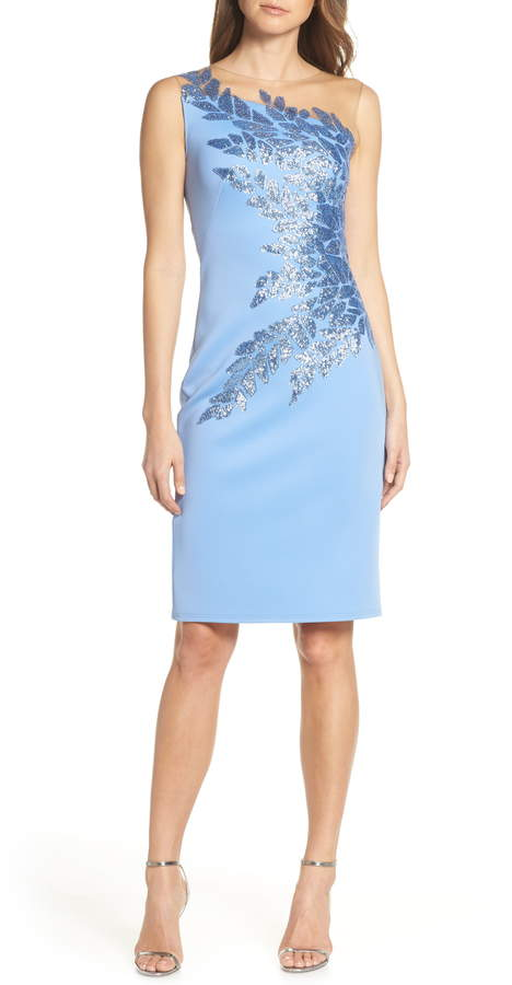 Tadashi Shoji Sugg Beaded Neoprene Cocktail Dress