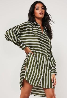 Missguided Green Oversized Stripe Print Dip Back Shirt Dress
