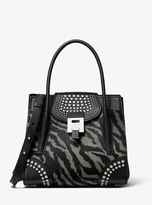 Michael Kors Bancroft Medium Tiger Calf Hair and Studded Leather Satchel