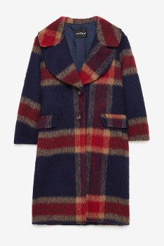 Otto D Ame - Red Long Tartan Coat - red | 36 - Red/Red