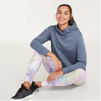 Joe Fresh Women's Quilted Hoodie, Blue Mix (Size XL)