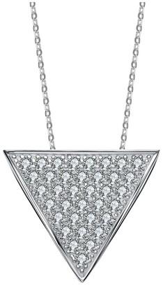 Genevive Silver Cz Triangle Necklace