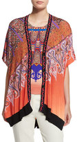 Etro Stampa Embroidered-Trim V-Neck Poncho Cardigan