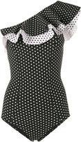 Lisa Marie Fernandez Arden polka dot ruffle swimsuit - women - Nylon/Spandex/Elastane - 2
