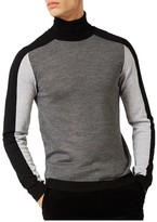 Topman Men's Slim Fit Colorblock Turtleneck Sweater