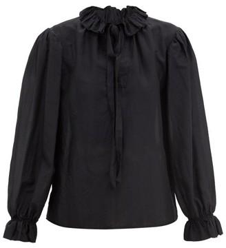 Etro Bale Ruffle-collar Cotton-blend Voile Blouse - Black