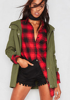 Missy Empire Anda Green Hooded Jacket
