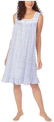 Eileen West Cotton Jersey Knit Sleeveless Short Nightgown (White Ground Blue/Pink Ditsy Floral) Women's Pajama