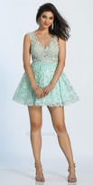 Dave and Johnny Illusion Keyhole Lace Fit and Flare Party Dress