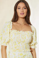 Charlie Holiday Lola Floral Smocked Crop Top Yellow S