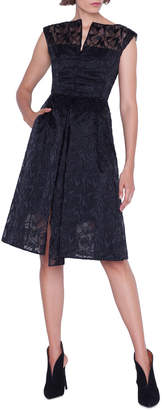 Akris Cap-Sleeve Embroidered Organza Apron Dress