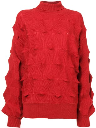 Issey Miyake Pre Owned Zigzag Structured Roll Neck Sweater