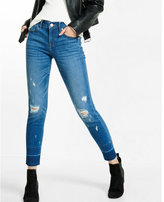 Express mid rise distressed super skinny ankle jean