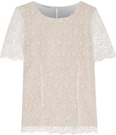Oscar de la Renta Crocheted cotton and cady blouse