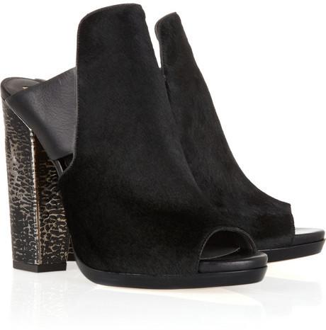 Reed Krakoff Metal-heeled calf hair mules