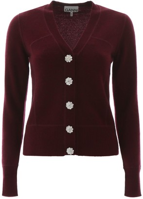 Ganni Embellished Button Knitted Cardigan
